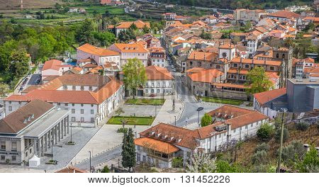 LAMEGO, PORTUGAL - APRIL 22, 2016: Central square in the historical town of Lamego, Portugal