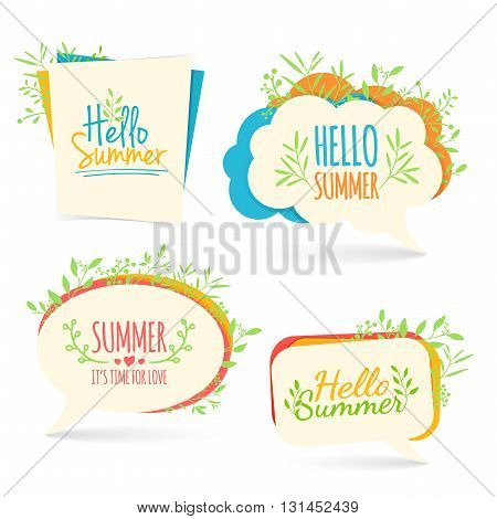 Set banner, logo, sticker, bubble with Hello summer. Bubble with Hello summer decoration with plants, flowers. Summer nature decor. Collection talk bubble summer banner. Vector illustration