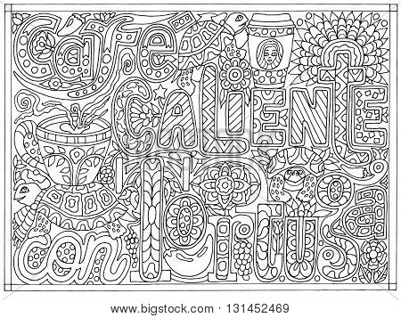 Adult coloring book poster page with font words café caliente con tortuga, black and white drawing, vector illustration