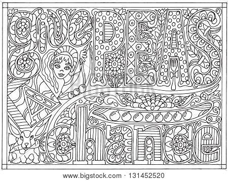 Adult coloring book poster page with font words give peas a chance, black and white drawing, vector illustration