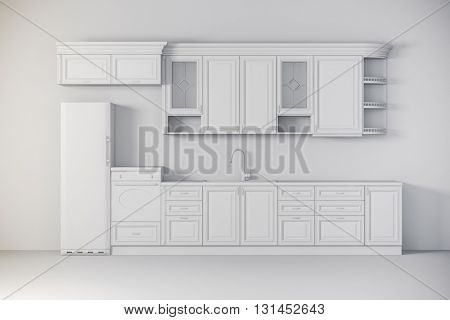3d render of beautiful classic kitchen interior