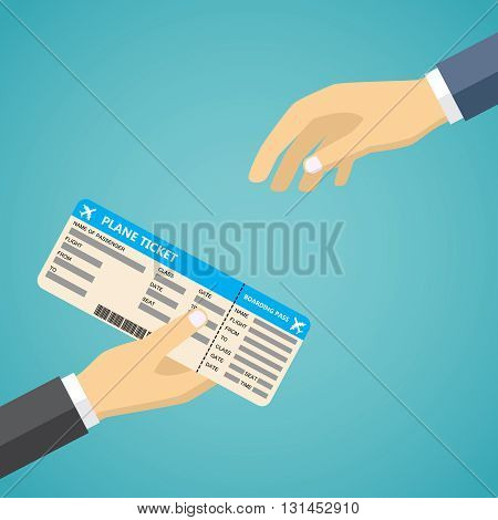 Businessman Receiving Boarding Pass from check-in Attendant. Hand Holding Boarding Pass.