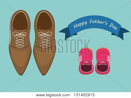 vector illustration of men leathers shoes and baby shoes with blue happy father's day banner text. father's day concepts.eps 10