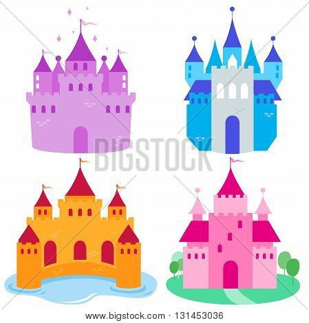 Vector illustration of beautiful fairy tale castles collection