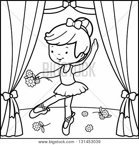 Vector illustration of a black and white outline image of a cute ballerina dancer girl, dancing on stage holding flowers.