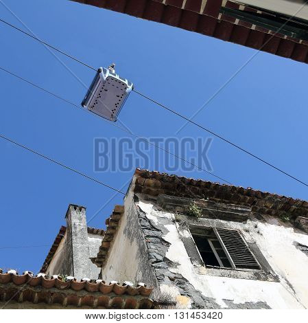 Cable car in the old city of Funchal on Madeira