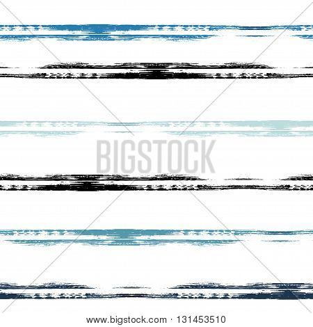 Vector Geometric Seamless Pattern. Brush Strokes. Hand Drawn Grunge Texture. Abstract Forms. Endless