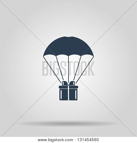 Gift box flying on parachute delivery service bonus concept.