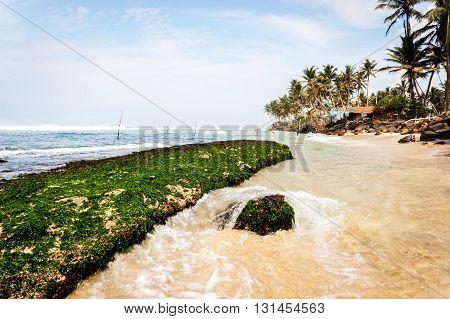 Tropical beach landscape in Ahangama, Sri Lanka