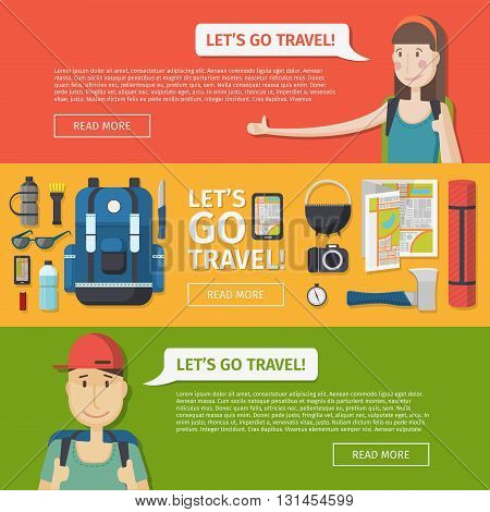 Set of templates for design banners travel. Web banners, posters, brochures to travel, camping, tourism. Banners with a set of tourist things. Banners with girl hitchhiker and tourist boy. Vector illustration