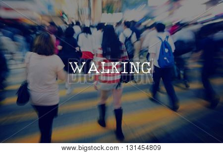 Walking Active Destination Roaming Travel Trek Concept