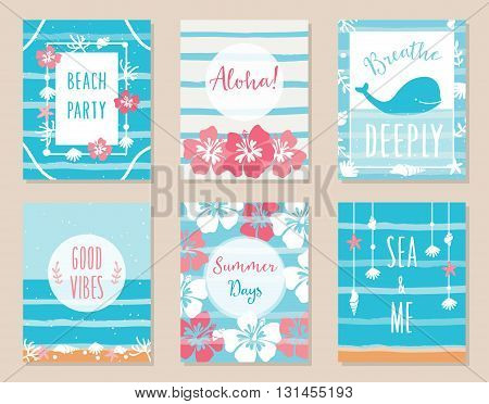 Summer Ocean and Beach Theme Hawaiian Posters and Cards. Vector Set