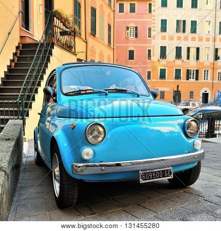 Camogli Liguria Italy - March 26 2016 Fiat 500 Abart on Italian street