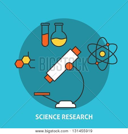 Science research concept. Science and research outline icons