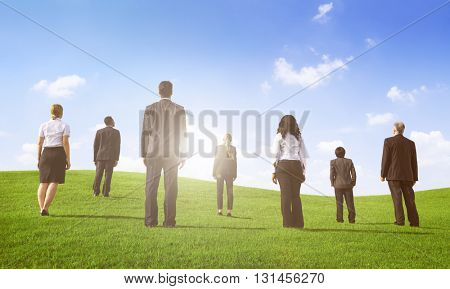 Business People Rear View Walking the Way Forward Concept