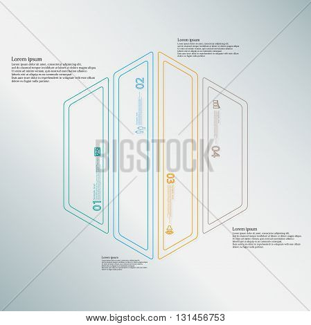 Illustration infographic template with motif of hexagon. Hexagon divided to four color parts. Each part created by double outline contour. Each part contains number text and simple sign.