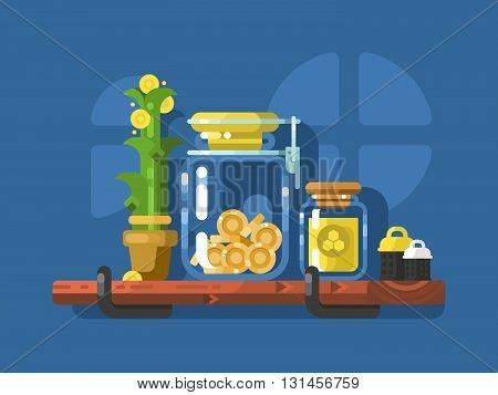 Savings and glass jar with coins. Finance currency in bank, investment wealth. Vector illustration