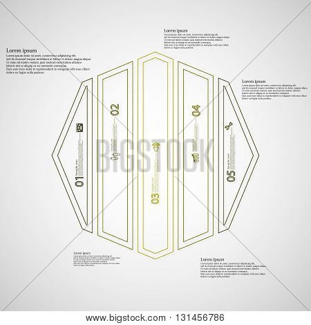 Illustration infographic template with motif of octagon. Octagon divided to five green parts. Each part created by double outline contour. Each part contains number text and simple sign.