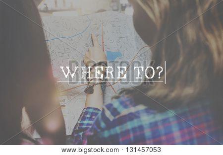 Where Destination Position Location Sign Turn Concept