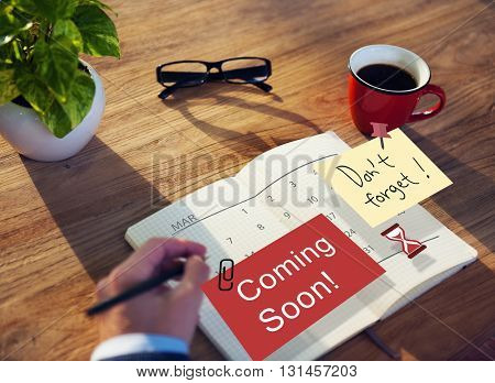 Coming Soon Advertising Announcement Sign Concept