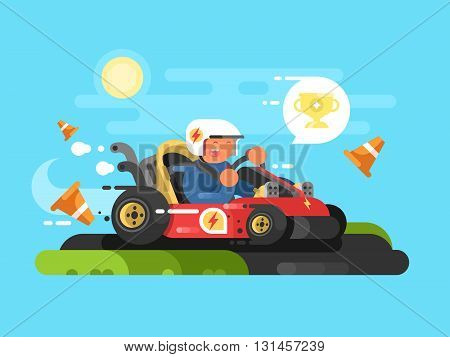 Riding a karting design flat. Drive speed sport, fast race track. Vector illustration