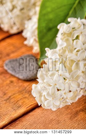 White Flowers Of Lilac On Wooden Board With Heart Shaped Stone