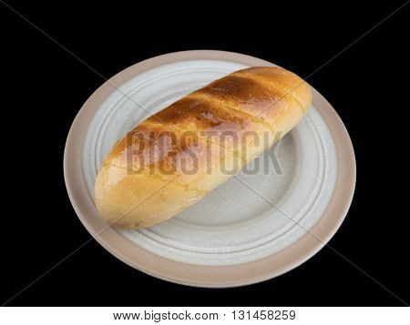 Garlic bread isolated on the black background with clipping path