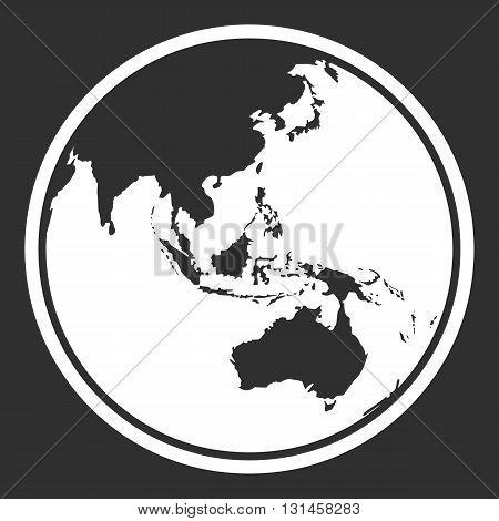 Globe earth vector icon. Earth planet globe web and mobile icon design. Contour white symbol of earth planet in australia view on black background. Vector illustration.