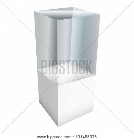 Empty glass showcase for exhibit. 3D Vector illustration isolated on white background. Trade show booth white and blank pedestal with glass box for expo design.