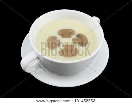 Mushroom cream soup isolated on the black background with clipping path