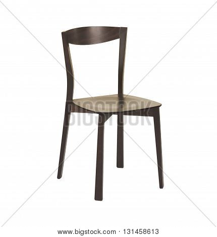 Brown wooden chair close-up on a white background