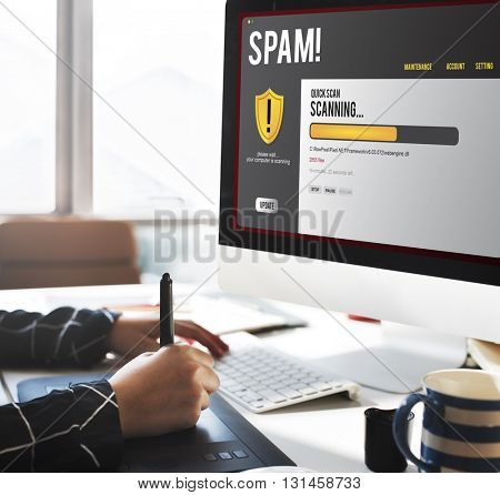 Spam Email Firewall Hacking Problem Concept