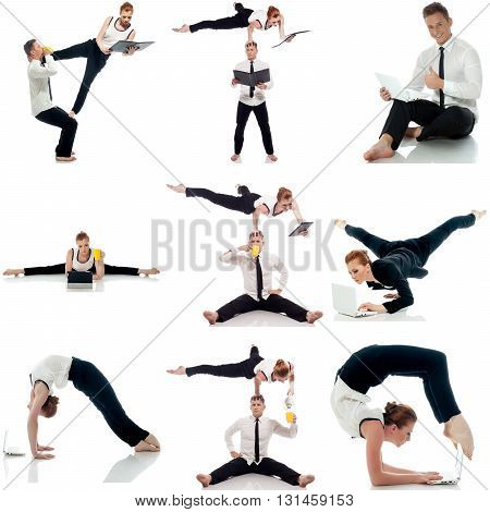 Multitasking. Photo set of acrobats doing yoga in studio