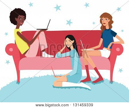 Vector Teenage Girl's Working Together On Laptops Illustration With Three Pretty Friends Smiling Sitting On Couch Holding Their Computers. Perfect for magazine article or blog artwork.