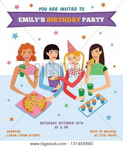 Vector Invitation Flyer Card For Teenage Girl's Birthday Party With Four Pretty Friends Celebrating. Perfect for a sleepover or pajama party event. Featuring young women, pizza, popcorn, cupcakes, drinks with fun text.