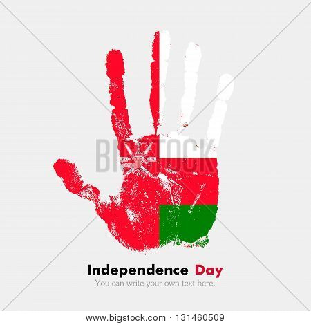 Hand print, which bears the Flag of Oman. Independence Day. Grunge style. Grungy hand print with the flag. Hand print and five fingers. Used as an icon, card, greeting, printed materials.