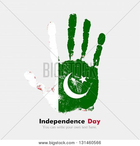 Hand print, which bears the Flag of Pakistan. Independence Day. Grunge style. Grungy hand print with the flag. Hand print and five fingers. Used as an icon, card, greeting, printed materials.