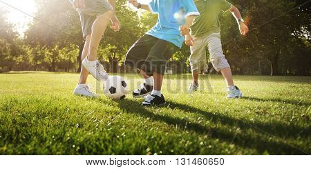 Football Family Father Son Activity Togetherness Concept