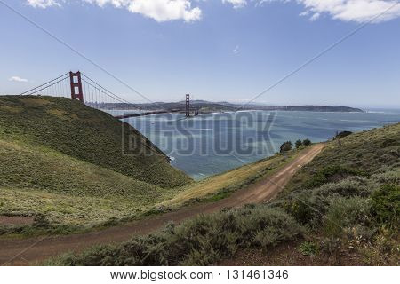 View of the Golden Gate Bridge and San Francisco Bay from Marin Headlands in Golden Gate National Recreation Area.