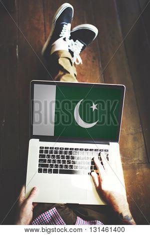Pakistan National Flag Business Communication Connection Concept