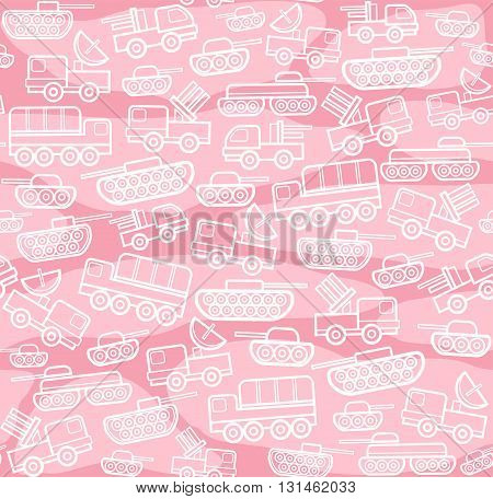 Military equipment, pink seamless background. Vector seamless background with military equipment on the field with pink spots. White, linear icons. Color, flat pattern.