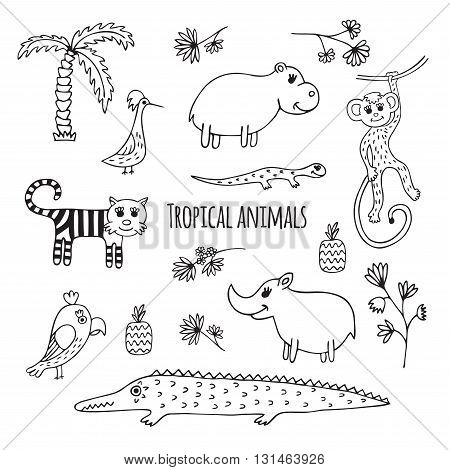 Cute vector set of tropical animals in cartoon style. Black and white sketch.  Hippo, lizard, Rhino, crocodile, monkey, tiger, Toucan, parrot.