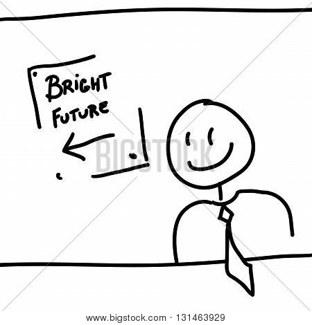 Man and board with text bright future