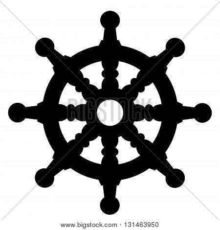 ship steering wheel silhouette on white background icon isolated