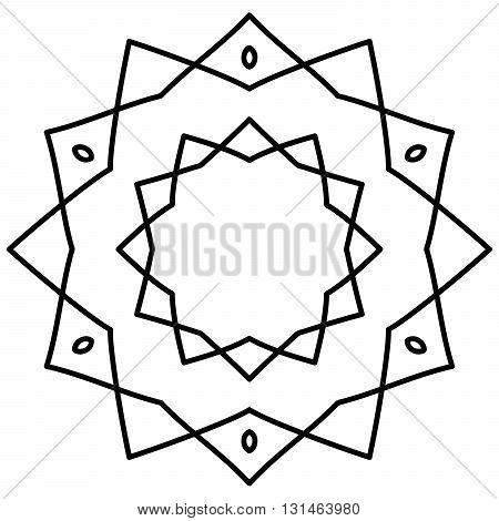 Simple mandala in black and white color