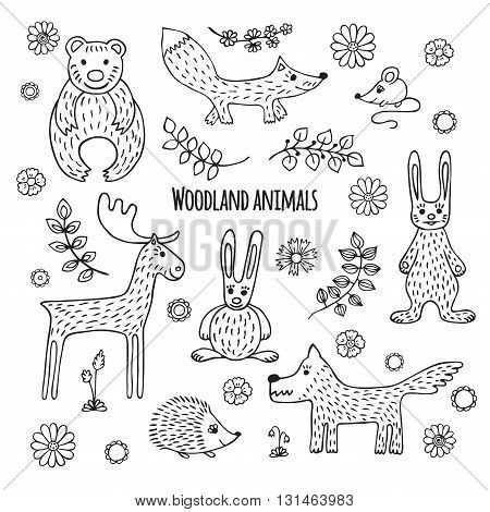 Cute vector set of woodland animals in cartoon style. Black and white sketch.  Elk, mouse,  wolf, hedgehog, fox, bear, hare, rabbit.