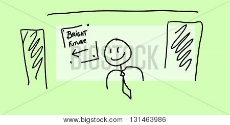 Sketch of board with text bright future and happy man