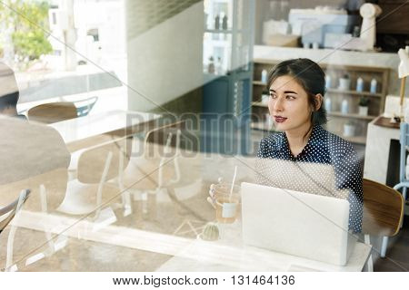 Girl Beverage Coffee Shop Internet Technology Concept