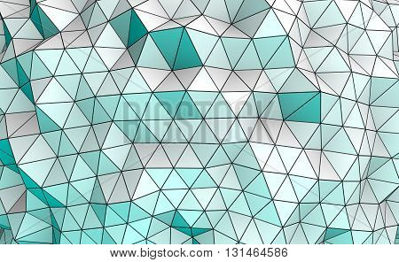 3D illustration - Blue and white low poly texture.
