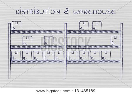 Shelves With Product Boxes, Distribution & Warehouse